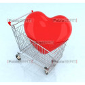 cart with a big red heart inside