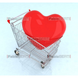 cart with a big heart inside