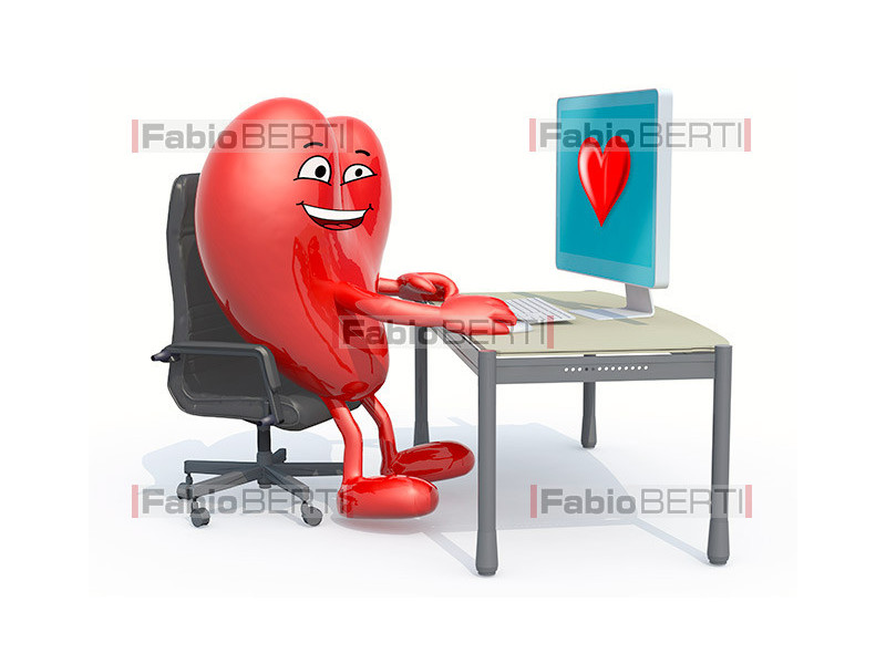 heart on the computer