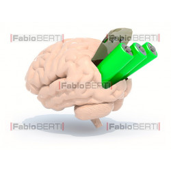 cervello con batterie
