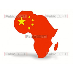 Africa with the flag of China