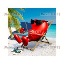heart resting on a beach chair