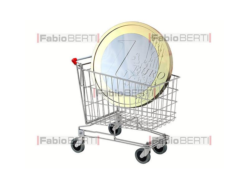 shopping cart with euro coin