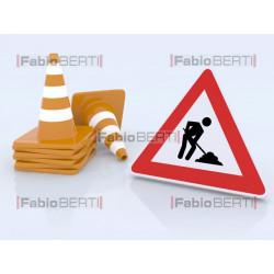 lavori in corso e coni del traffico