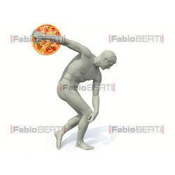discobolus statue launches a pizza