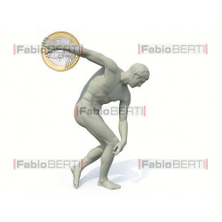 discobolus statue launches a euro coin