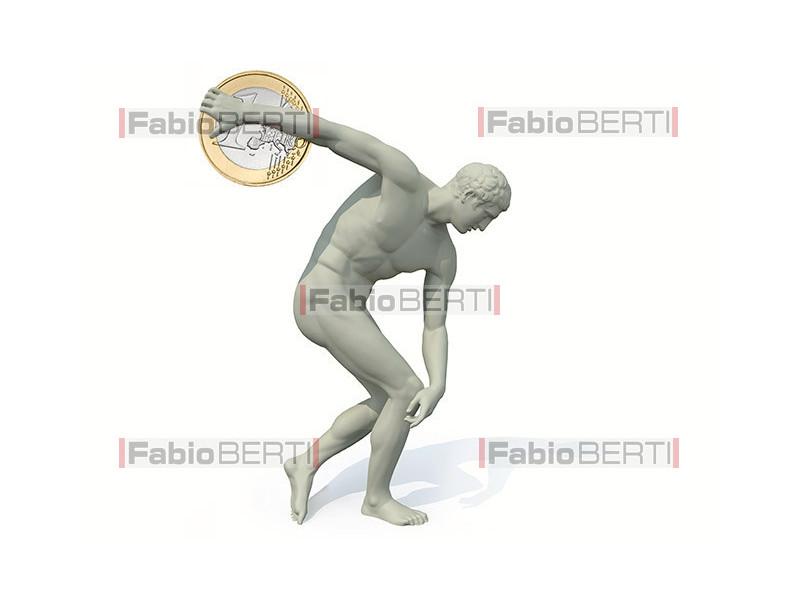 discobolus statue launches a euro coin