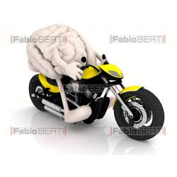 brain on a motorbike