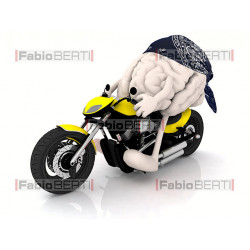brain bandana on a motorbike