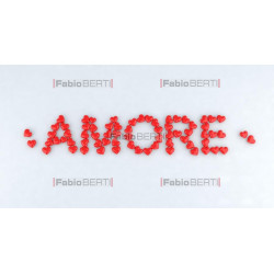"written ""amore"" with hearts"