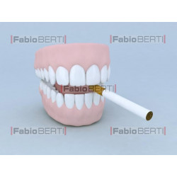 denture with cigarette