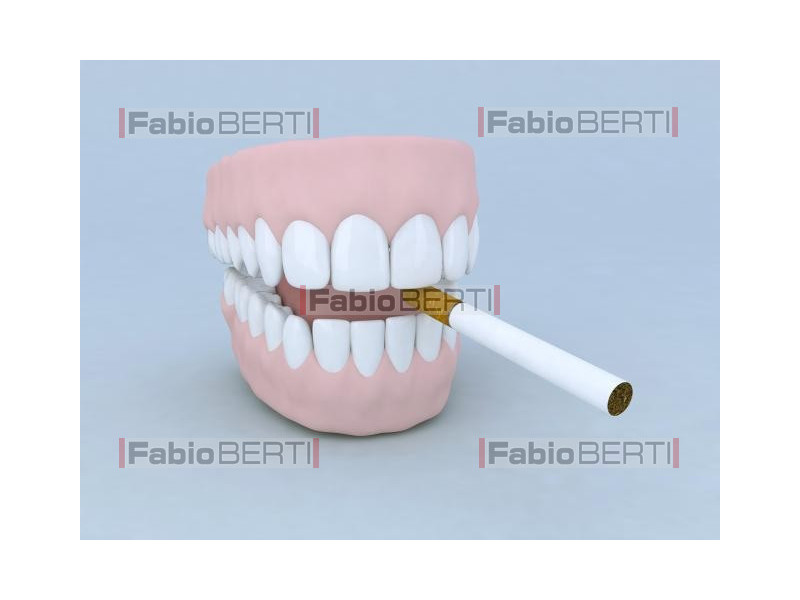 denture with cigarette