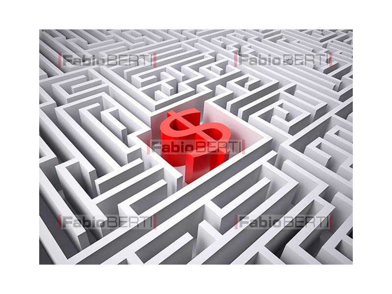 labyrinth with dollar symbol