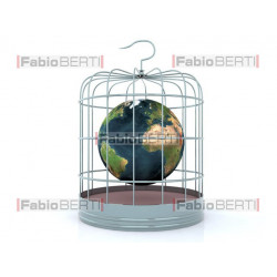 world in a cage for birds