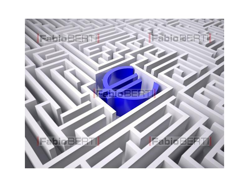 labyrinth with euro symbol