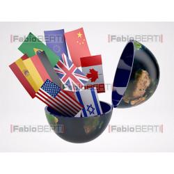 mondo con bandiere