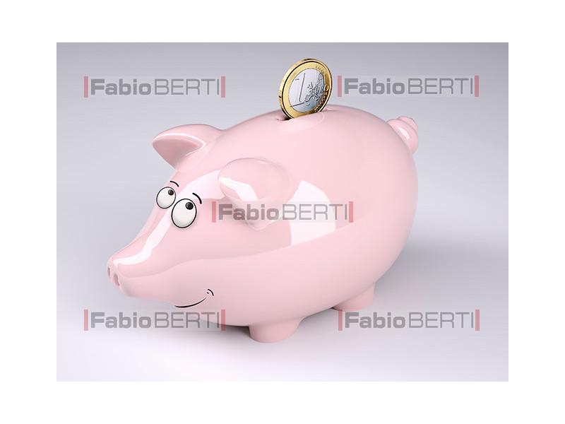 piggy bank and 1 euro coin