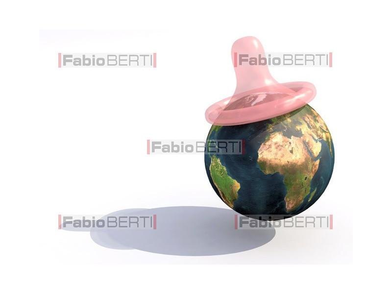 world and pink condom