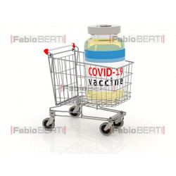 shopping cart with vaccine...