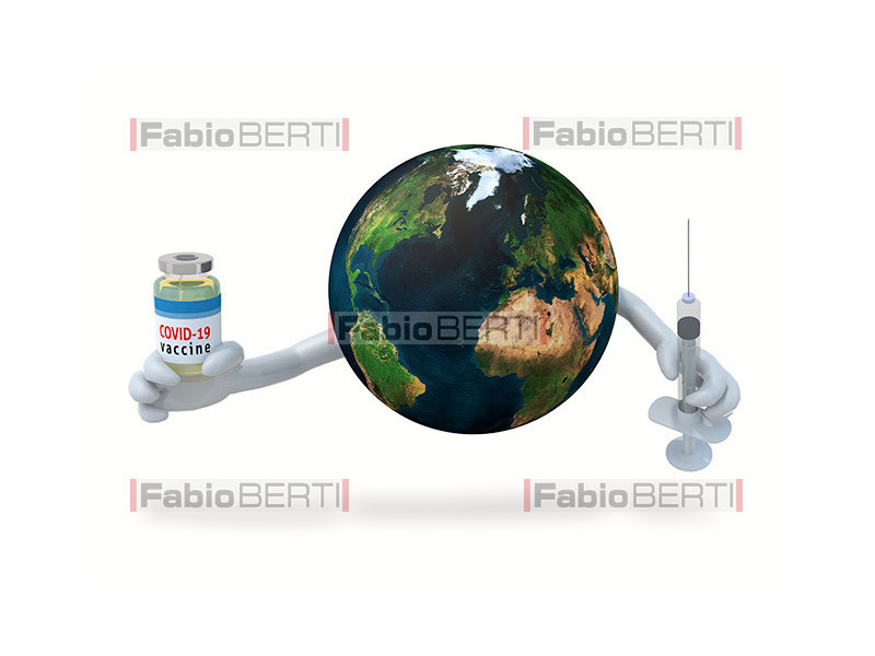 world with vaccine bottle
