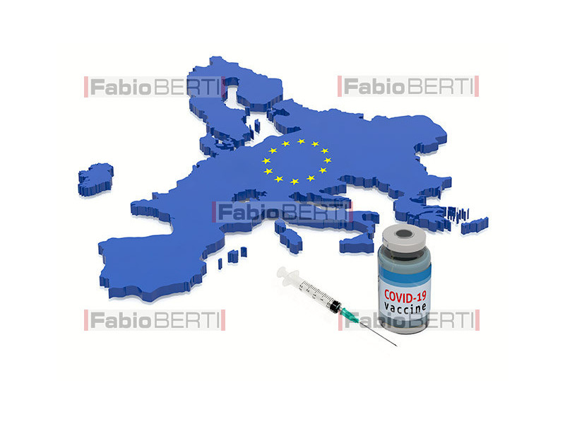europe with vaccine bottle