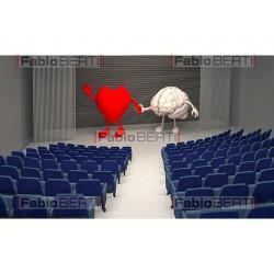 cuore e cervello mano sul palco