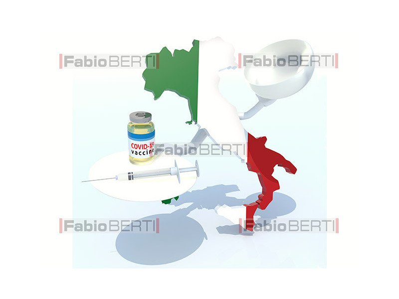 italy with vaccine bottle and syringe