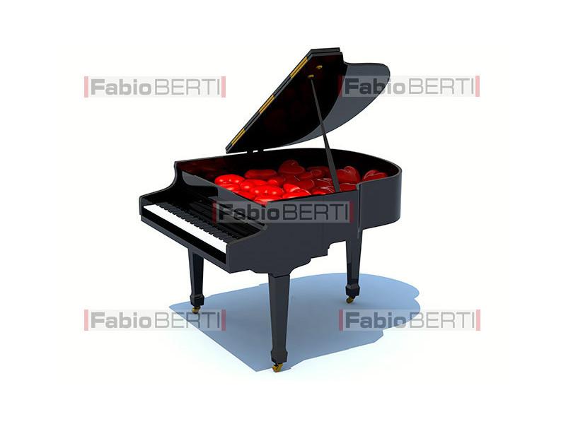piano with many hearts