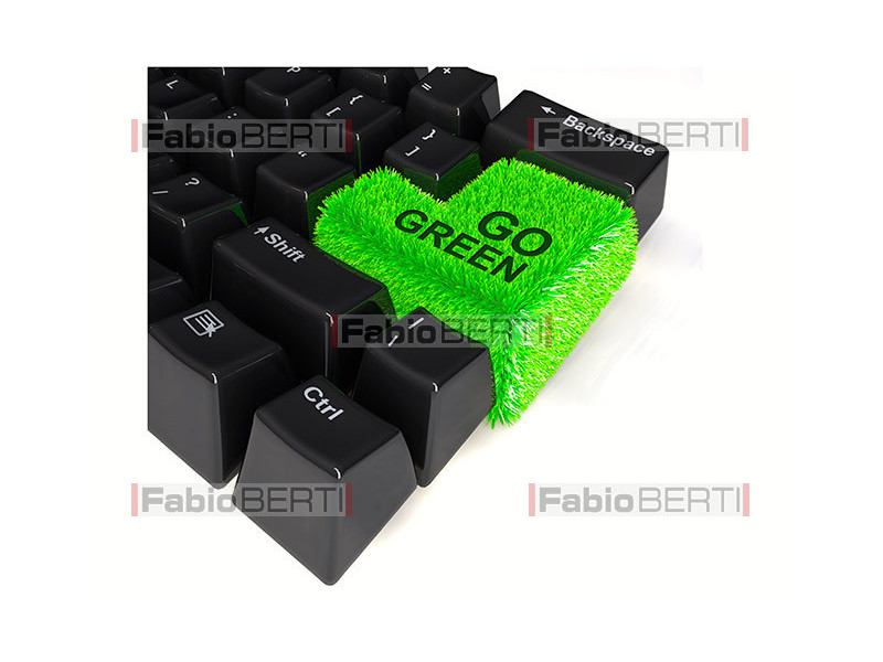 computer keyboard with grass