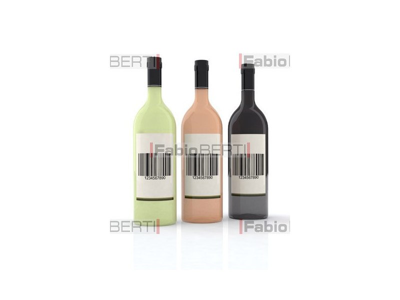 bottles of wine with bar code