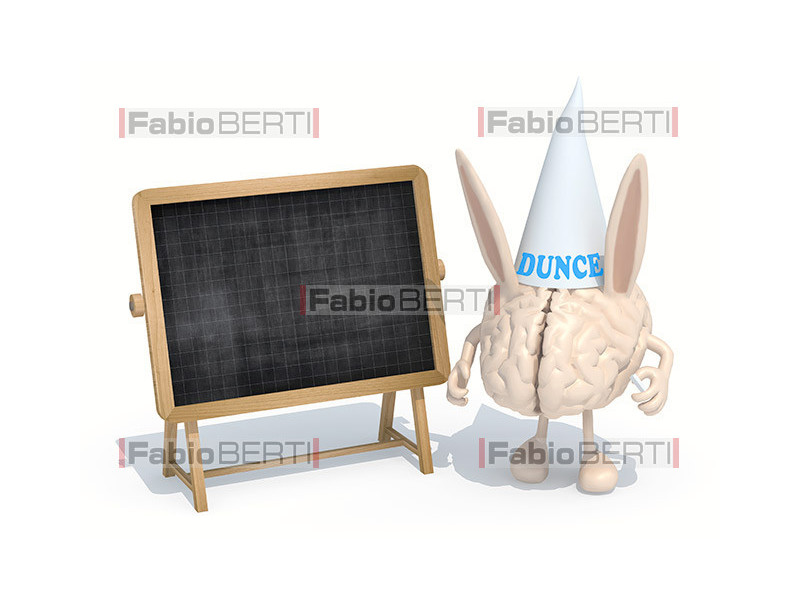 brain with a donkey's hat