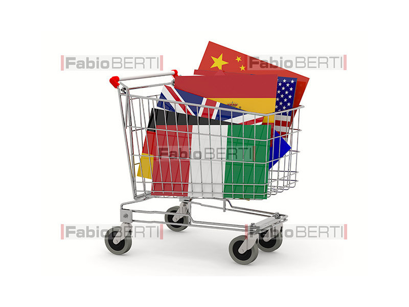 flags on the shopping cart