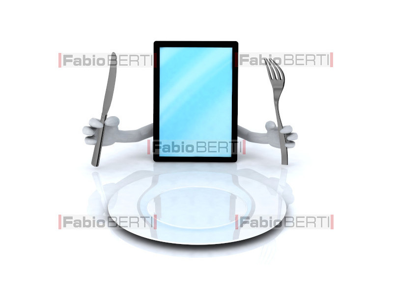 tablet in front of a plate
