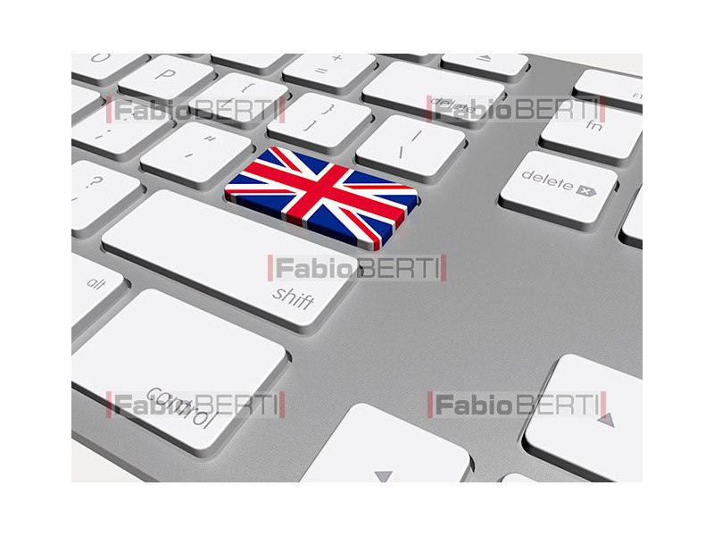 keyboard with UK flag