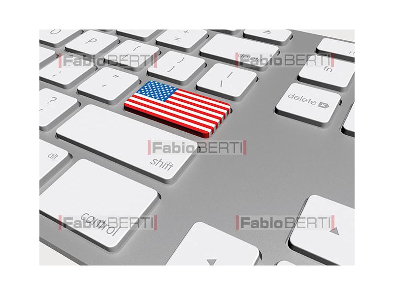 keyboard with U.S.A. flag