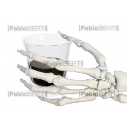 skeletal hand with drinking glass