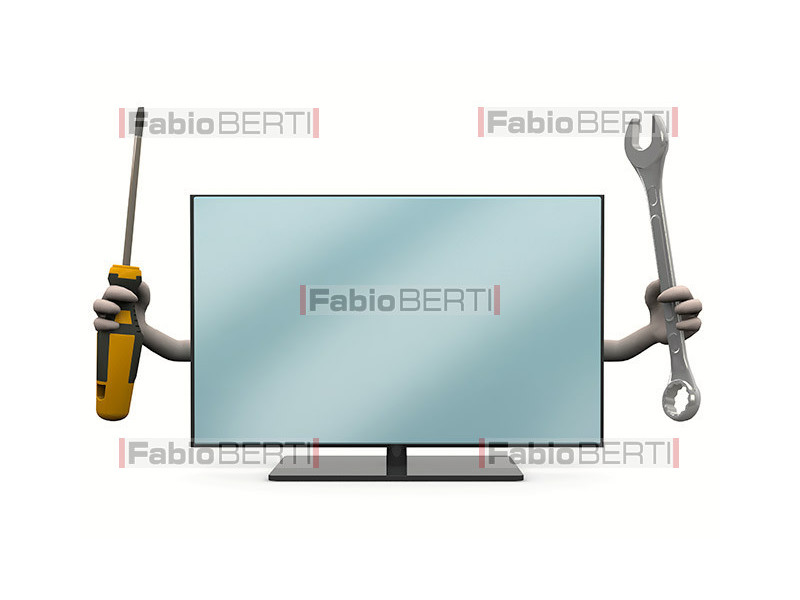 television with tools