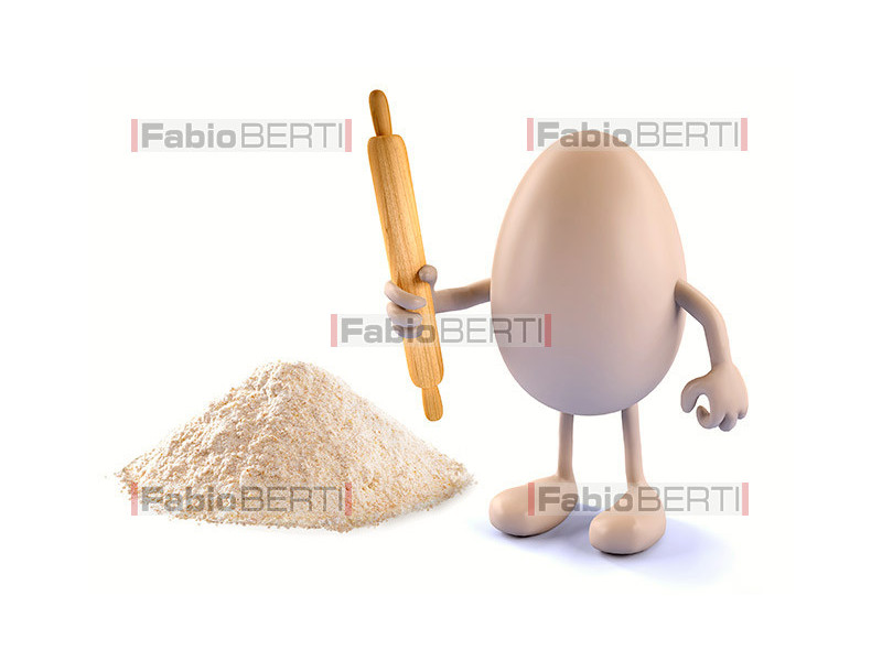 egg with rolling pin