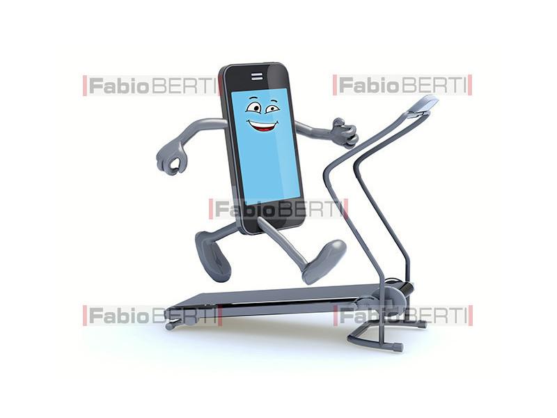 smartphone on running treadmill