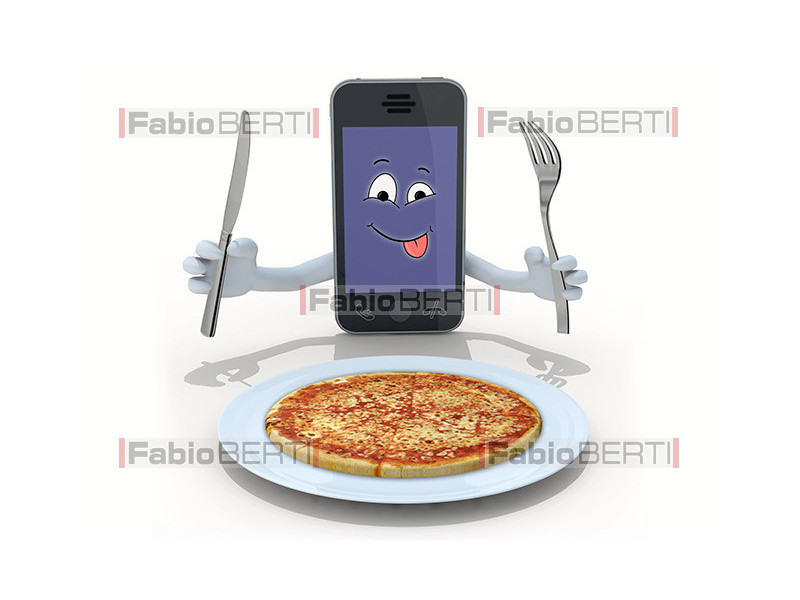 smartphone and pizza