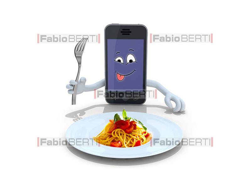 smartphone and spaghetti
