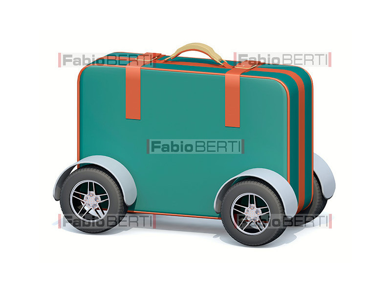suitcase with car wheels