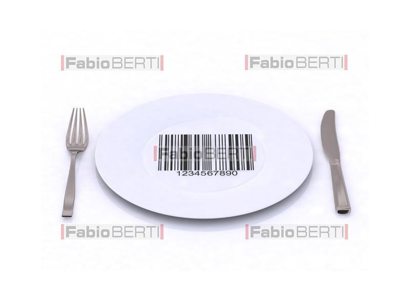 piatto con codice a barre