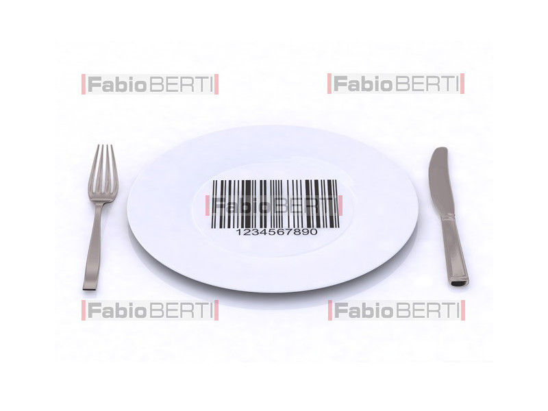 plate with a bar code