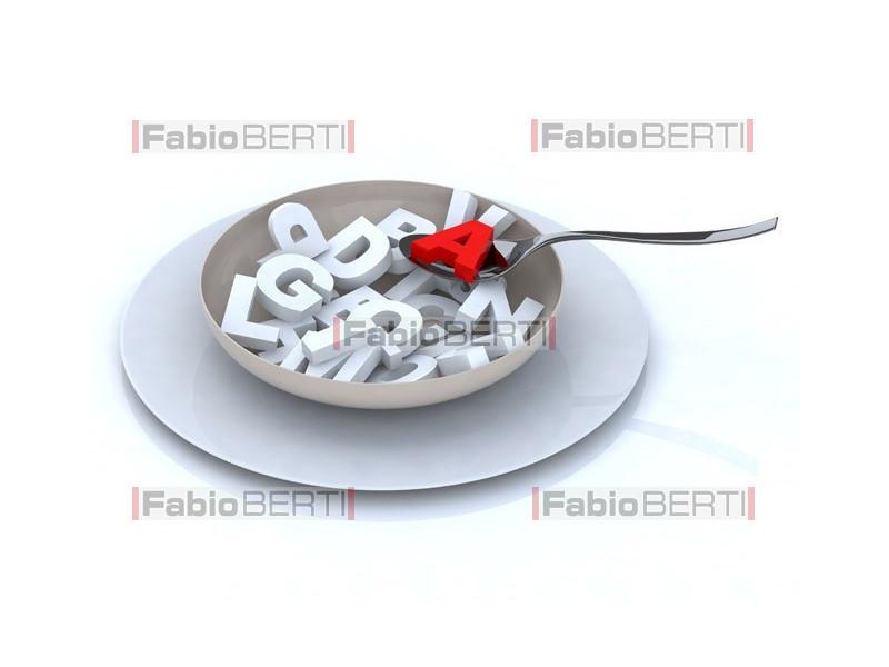 piatto con lettere