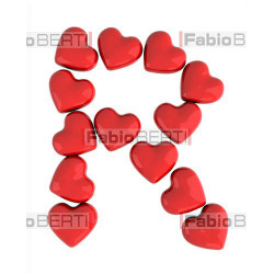 alphabet with red hearts