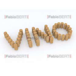 written vino (wine in italian) with corks