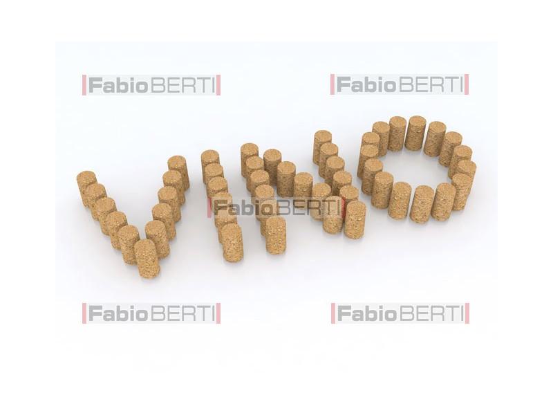 written vino (wine in italian) with corks