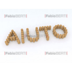 written aiuto (help in italian) with corks