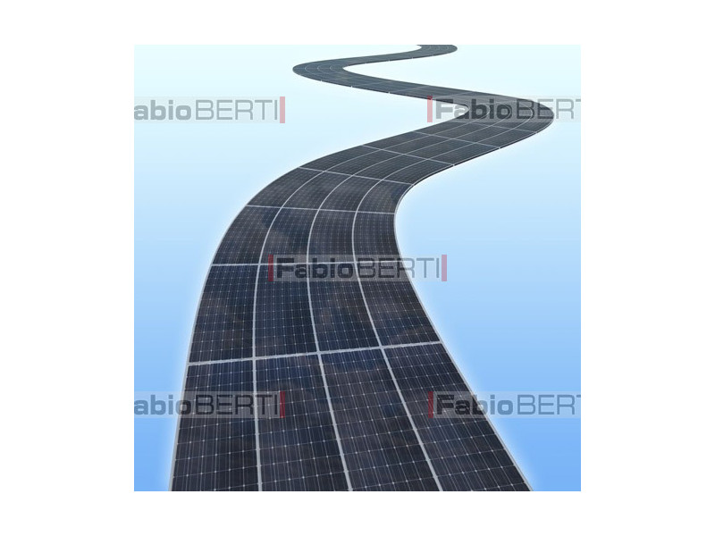 road with solar panels